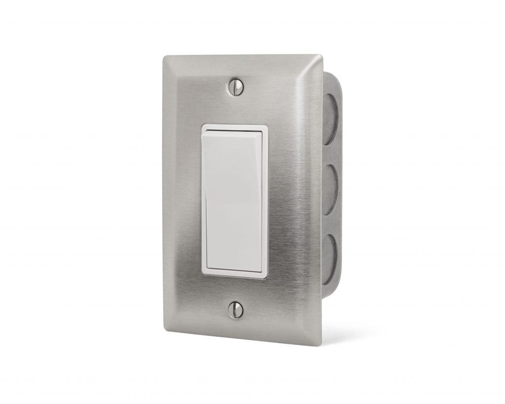 Interrupteur simple encastré - Plaque Acier Inox