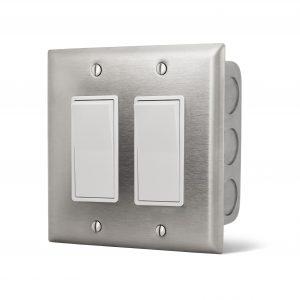 Interrupteur double encastré - Plaque Acier Inox