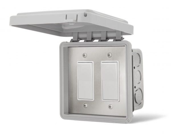 Interrupteur double encastré - Couvert Imperméable