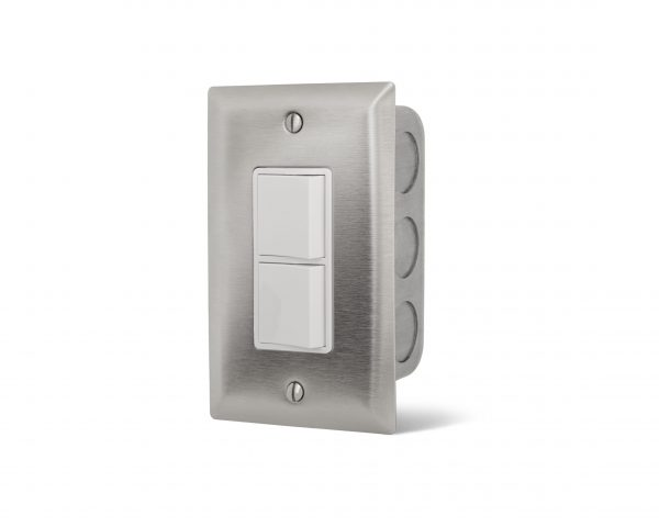 Interrupteur simple superposé encastré - Plaque Acier Inox