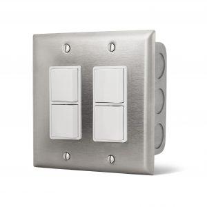 Double Interrupteur superposé encastré - Plaque Acier Inox