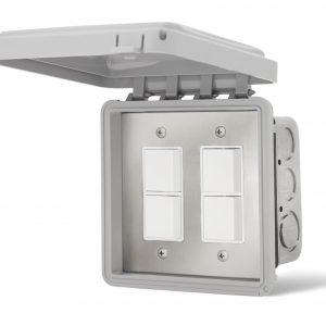 Double Interrupteur superposé encastré - Couvert Imperméable