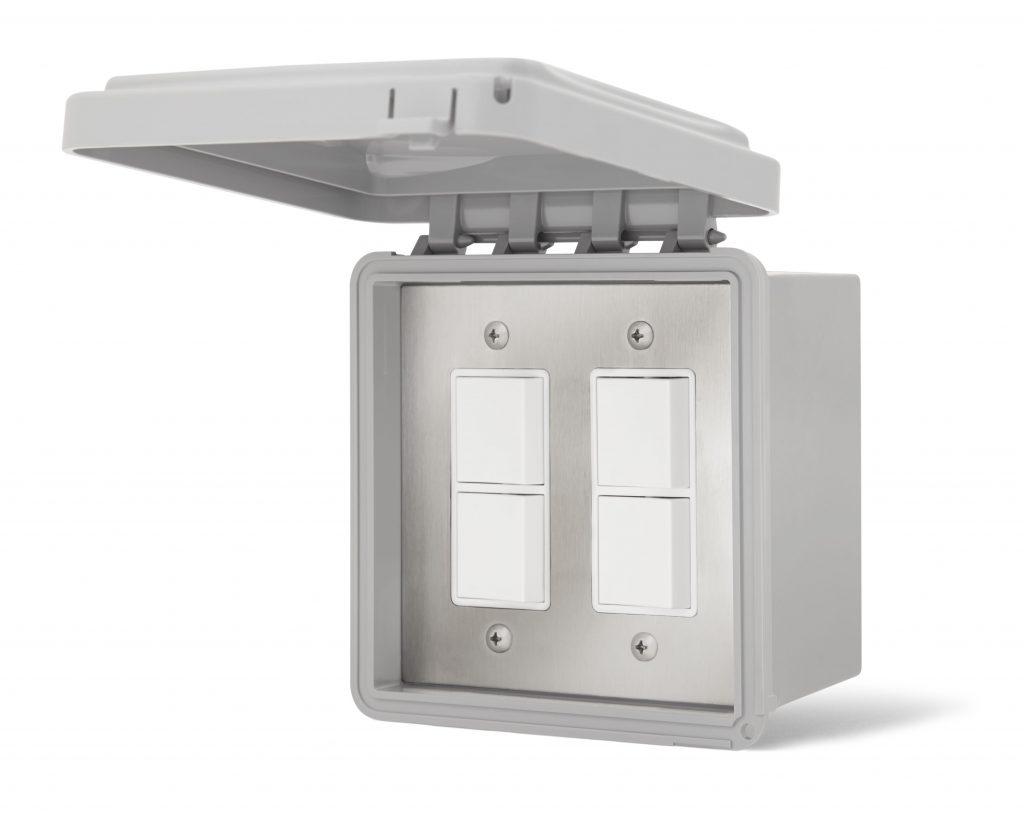 Double Interrupteur superposé - Boîte & Couvert Imperméable